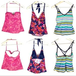 Lot of 3 Swim Suit Tops Tankini Talbots & Merona M
